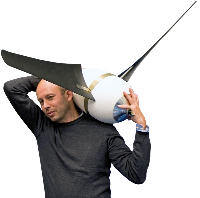 Wind architect Sander Mertens and prototype The Windleaf